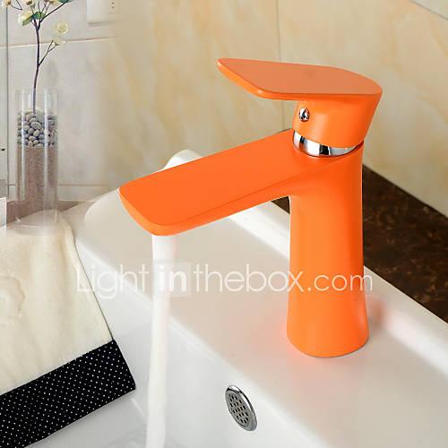 Eigentijdse oranje kleur schilderen koper warme en koude enkel handvat badkamer wastafel kraan - Koude en warme kleur ...