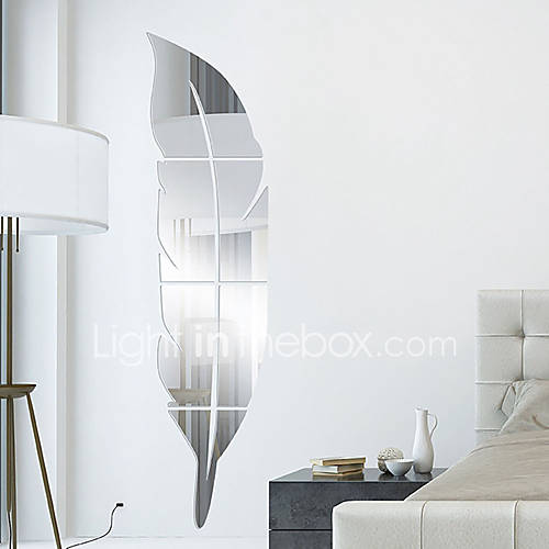 Feather diy mirror acrylic wall stickers wall decals for Miroir plein pied