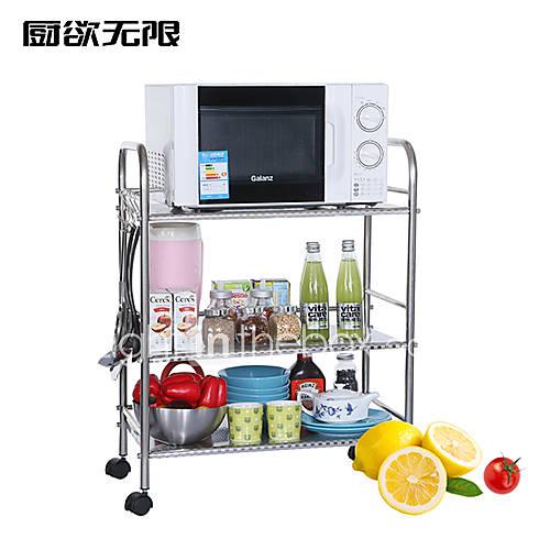 Acero inoxidable chuyuwuxian 60cm de tres capas plataforma de almacenamiento horno microondas - Estante microondas ...