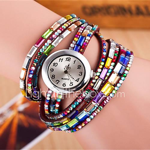 Mujer Reloj de Moda / Reloj Pulsera Cuarzo Colorido Piel Banda Destello Negro / Blanco / Rojo Marca Lightinthebox
