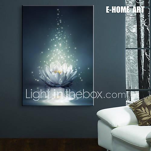 Led Wall Light Flashing: E-HOME® Stretched LED Canvas Print Art White Lotus On The