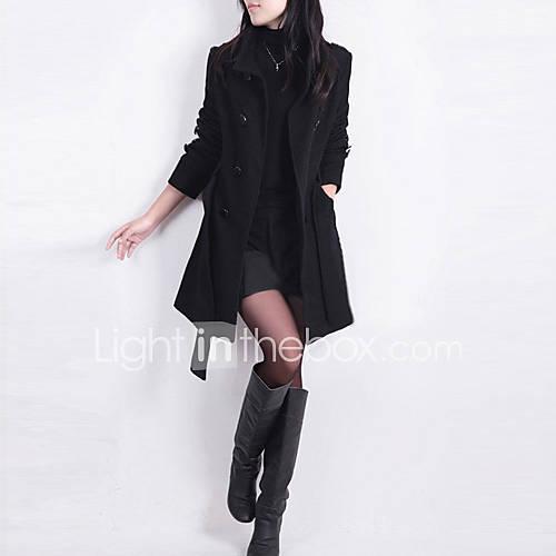 vrouwen-grote-maten-herfst-trenchcoat-overhemdkraag-lange-mouw-zwart-bruin-effen-medium-katoen-polyester
