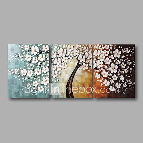 Pintada a mano Abstracto Floral/Botánico Panorámica,Modern Tres Paneles Pintura al óleo pintada a colgar For Decoración hogareña