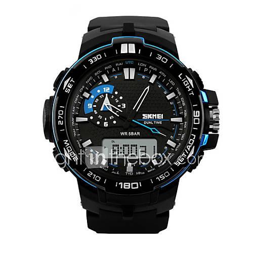 Masculino Relógio Esportivo Relógio de Pulso Quartzo LED Calendário Cronógrafo Impermeável Dois Fusos Horários alarme Relógio Esportivo PU