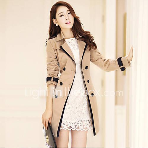 dames-herfst-trenchcoat-grote-maten-overhemdkraag-lange-mouw-beige-zwart-effen-medium-katoen-polyester-nylon