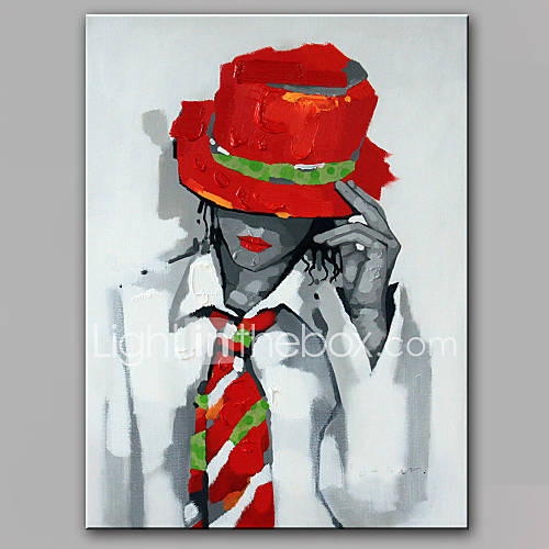 Hand-Painted People Vertical Modern Canvas Oil Painting Home Decoration One Panel