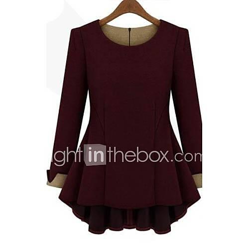 vrouwen-eenvoudig-lente-herfst-winter-t-shirt-casual-dagelijks-effen-ronde-hals-lange-mouw-rood-beige-zwart-katoen-linnen-medium