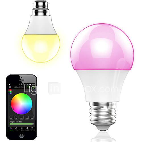 control de aplicación inteligente del bluetooth inalámbrico bombilla LED RGB / luz