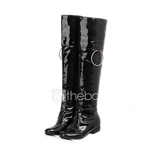 Women's Spring Fall Winter Fashion Boots Patent Leather ...