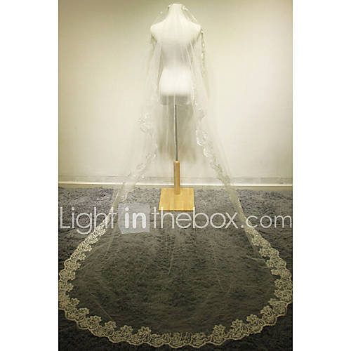 wedding veil one tier cathedral veils lace applique edge champagne
