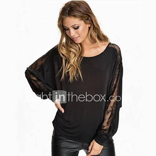 Vrouwen Eenvoudig Herfst T-shirt,Casual/Dagelijks Patchwork Ronde hals Lange mouw Zwart Polyester Dun