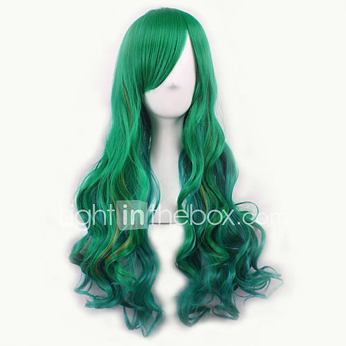 Europe and The United States the New Gradient Cosplay Anime Wig COS The Original Green Color Female Long Hair Wig