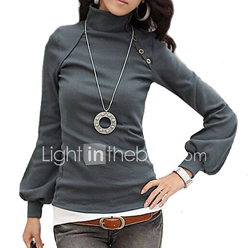 vrouwen-eenvoudig-herfst-t-shirt-casual-dagelijks-effen-coltrui-lange-mouw-wit-zwart-grijs-oranje-katoen-medium