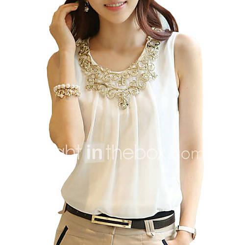 vrouwen-eenvoudig-zomer-t-shirt-casual-dagelijks-effen-ronde-hals-mouwloos-wit-zwart-polyester-dun