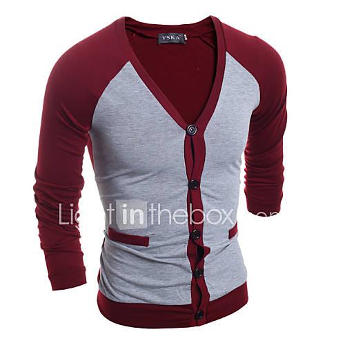 heren-casual-dagelijks-eenvoudig-normaal-vest-effen-wit-zwart-grijs-v-hals-lange-mouw-katoen-herfst-winter-medium-micro-elastisch