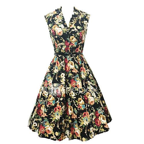 vrouwen-vintage-schede-bloemen-jurk-tot-de-knie-v-hals-katoen