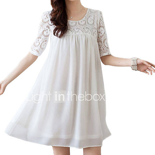 vrouwen-schattig-grote-maten-jurk-boven-de-knie-u-hals