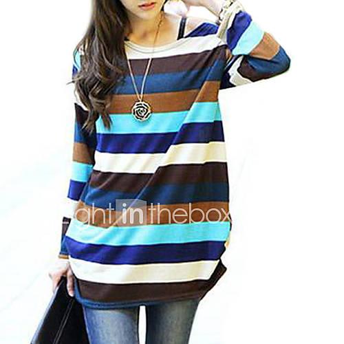vrouwen-eenvoudig-lente-herfst-winter-t-shirt-casual-dagelijks-gestreept-wijde-boothals-lange-mouw-meerkleurig-katoen-overige-medium