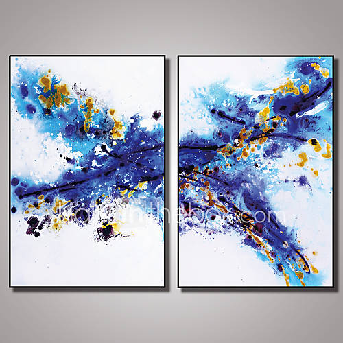 2 panels framed blue abstract painting picture print on canvas with black frame modern wall art. Black Bedroom Furniture Sets. Home Design Ideas