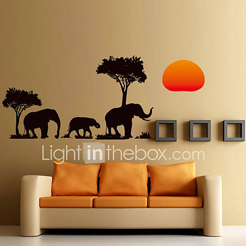 Wall stickers wall decals style the african elephant in - Decoracion de paredes ...