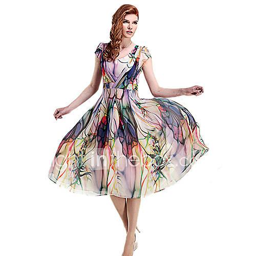 vrouwen-casual-grote-maten-print-jurk-maxi-u-hals-chiffon