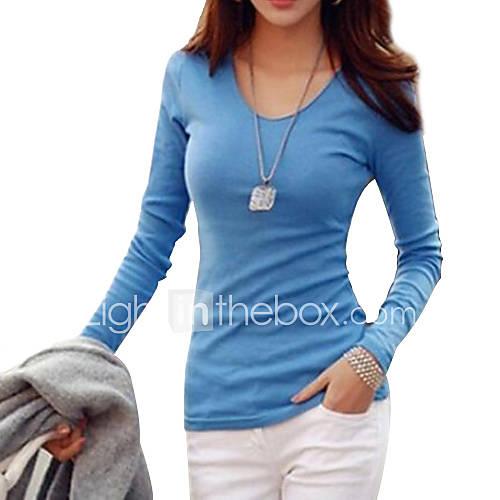vrouwen-eenvoudig-street-chic-t-shirt-casual-dagelijks-grote-maten-effen-v-hals-lange-mouw-blauw-wit-zwart-katoen-medium