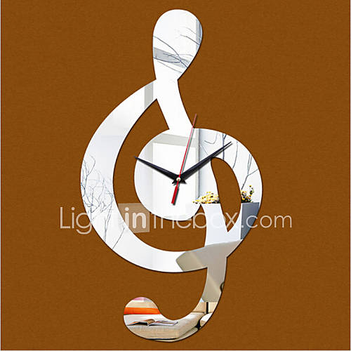 New acrylic diy 3d mirror home decor music notation wall for 3d acrylic mirror wall sticker clock decoration decor