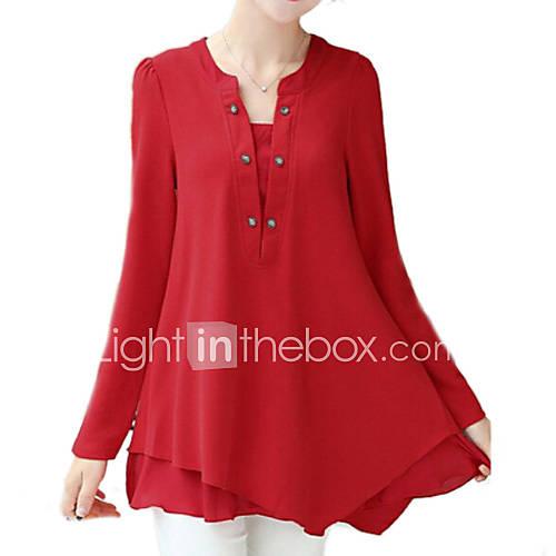 vrouwen-eenvoudig-herfst-t-shirt-casual-dagelijks-effen-v-hals-lange-mouw-rood-groen-geel-nylon-medium