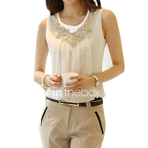 vrouwen-eenvoudig-street-chic-alle-seizoenen-blouse-casual-dagelijks-grote-maten-effen-ronde-hals-mouwloos-wit-zwart-polyester-dun