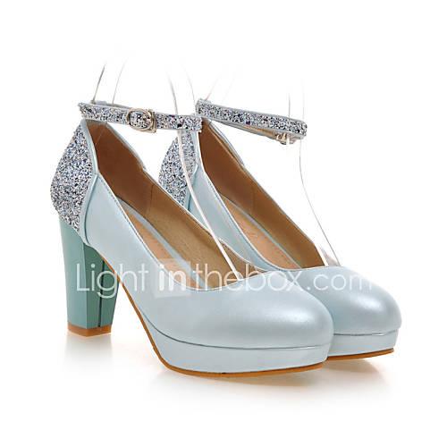 Chunky Wedding Heels: Women's Shoes Leatherette Chunky Heel Heels / Platform