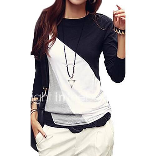 dames-eenvoudig-street-chic-herfst-t-shirt-casual-dagelijks-grote-maten-kleurenblok-ronde-hals-lange-mouw-zwart-bruin-katoen