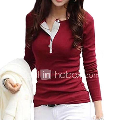 dames-eenvoudig-street-chic-alle-seizoenen-t-shirt-casual-dagelijks-effen-ronde-hals-lange-mouw-roze-wit-zwart-bruin-groen-paars-katoen