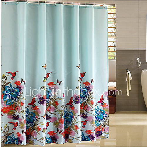 Shower Curtain Modern Style Blue Flower Print Thick Fabric Water Resistant W71 X L71 With