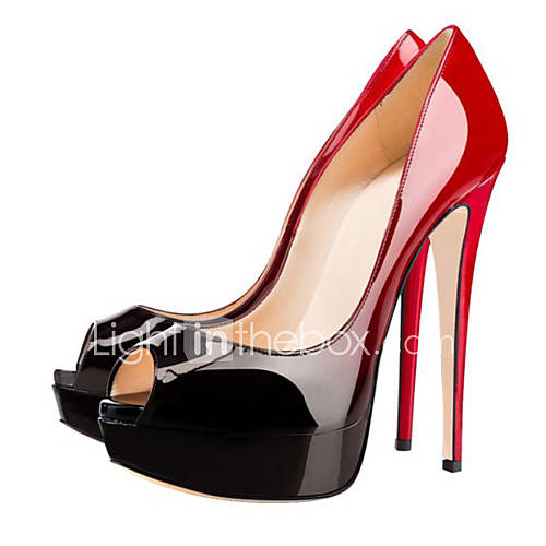 Zapatos de mujer - Tacón Stiletto - Punta Abierta - Sandalias - Boda / Casual / Fiesta y Noche - Cuero Patentado - Negro y Rojo Descuento en Lightinthebox