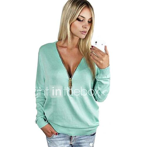 Vrouwen Eenvoudig Herfst T-shirt,Casual/Dagelijks Effen Diepe V-hals Lange mouw Blauw / Roze / Zwart Medium
