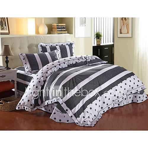 love forever high end full cotton reactive printing stripe contemporary bedding set 4pc full. Black Bedroom Furniture Sets. Home Design Ideas