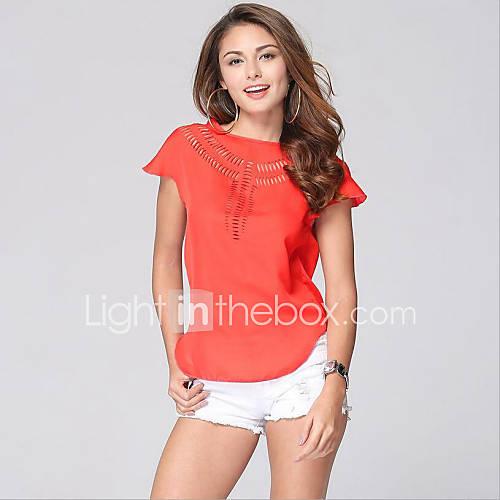 vrouwen-eenvoudig-zomer-t-shirt-casual-dagelijks-effen-ronde-hals-mouwloos-roze-rood-wit-groen-polyester-dun