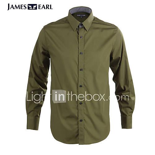 JamesEarl Masculino Colarinho de Camisa Manga Comprida Shirt & Blusa Verde - DA112045314