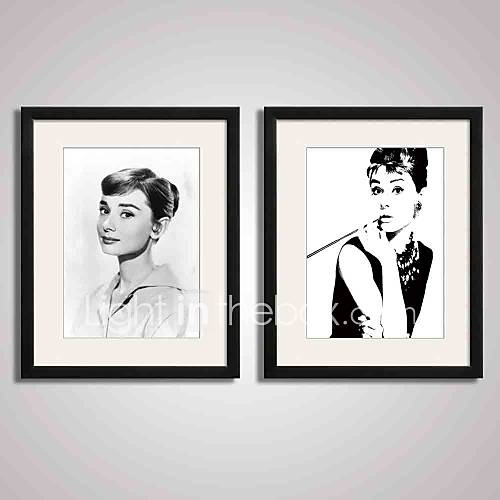 Framed black and white famous film star audrey hepburn for Black and white celebrity prints