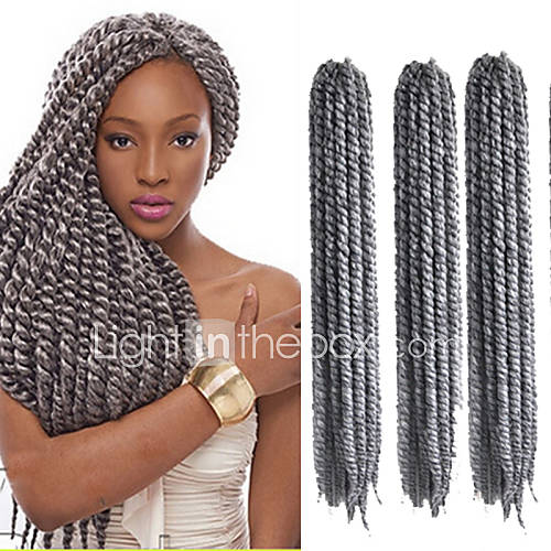 Crochet Hair Gray : Havana Mambo Twist Crochet Braid Hair Synthetic Grey Kanekalon Kinky ...