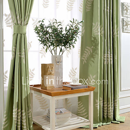 One Panel Green Linen Cotton White Leaves Embroidery Room Darkening Curtain 4801749 2016