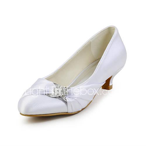 Zapatos de mujer - Tacón Bajo - Tacones / Punta Redonda - Tacones - Boda / Vestido / Fiesta y Noche - Seda -Negro / Rosa / Rojo / Marfil Descuento en Lightinthebox