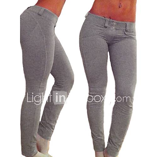Legging Para Mujer Un Color Medio-Algodón / Espándex Descuento en Lightinthebox
