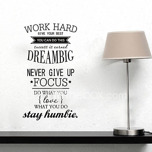 Wall stickers wall decals style work hard dream big english words quotes pvc wall stickers for Decoratie stuk om te leven