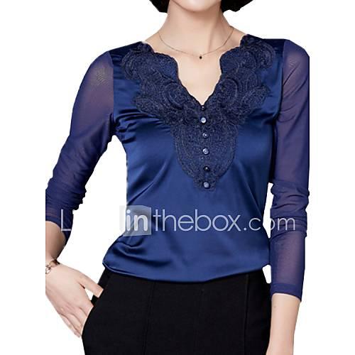 vrouwen-eenvoudig-lente-t-shirt-casual-dagelijks-effen-v-hals-lange-mouw-blauw-rood-zwart-grijs-polyester-overige-medium
