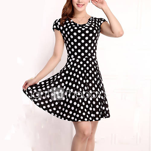 vrouwen-vintage-grote-maten-chiffon-polka-dot-jurk-tot-de-knie-ronde-hals-rayon-polyester