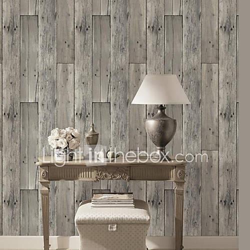 HaokHome® Vintage Woods Panel Wallpaper Rolls Lt.Grey
