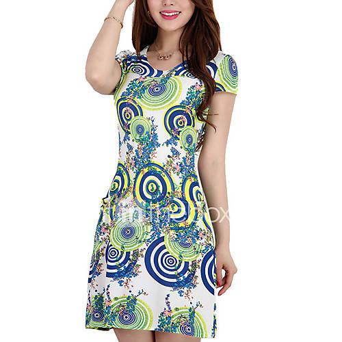vrouwen-vintage-grote-maten-schede-bloemen-jurk-tot-de-knie-ronde-hals-rayon-polyester