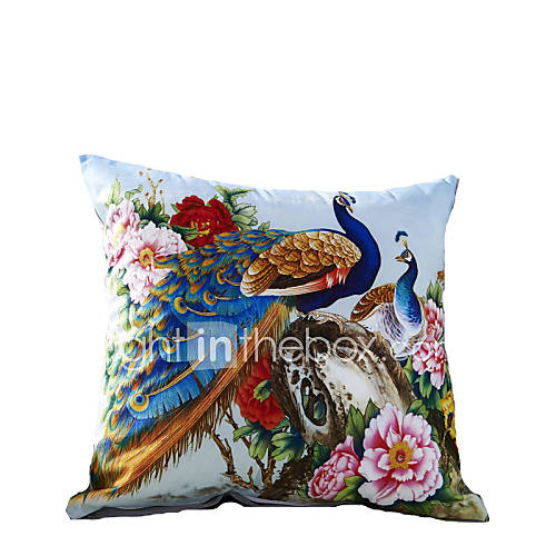 3d Design Print Blue Peacock Decorative Throw Pillow Case