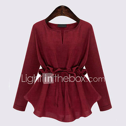 vrouwen-grote-maten-street-chic-blouse-casual-dagelijks-effen-ronde-hals-lange-mouw-blauw-rood-zwart-linnen-medium